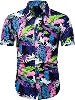 ♛2019 Clearance Sale♛ - Chamery Summer Shirt for MenFashion Men's Casual Button Hawaii Print Beach Short Sleeve Quick Dry Top Blouse