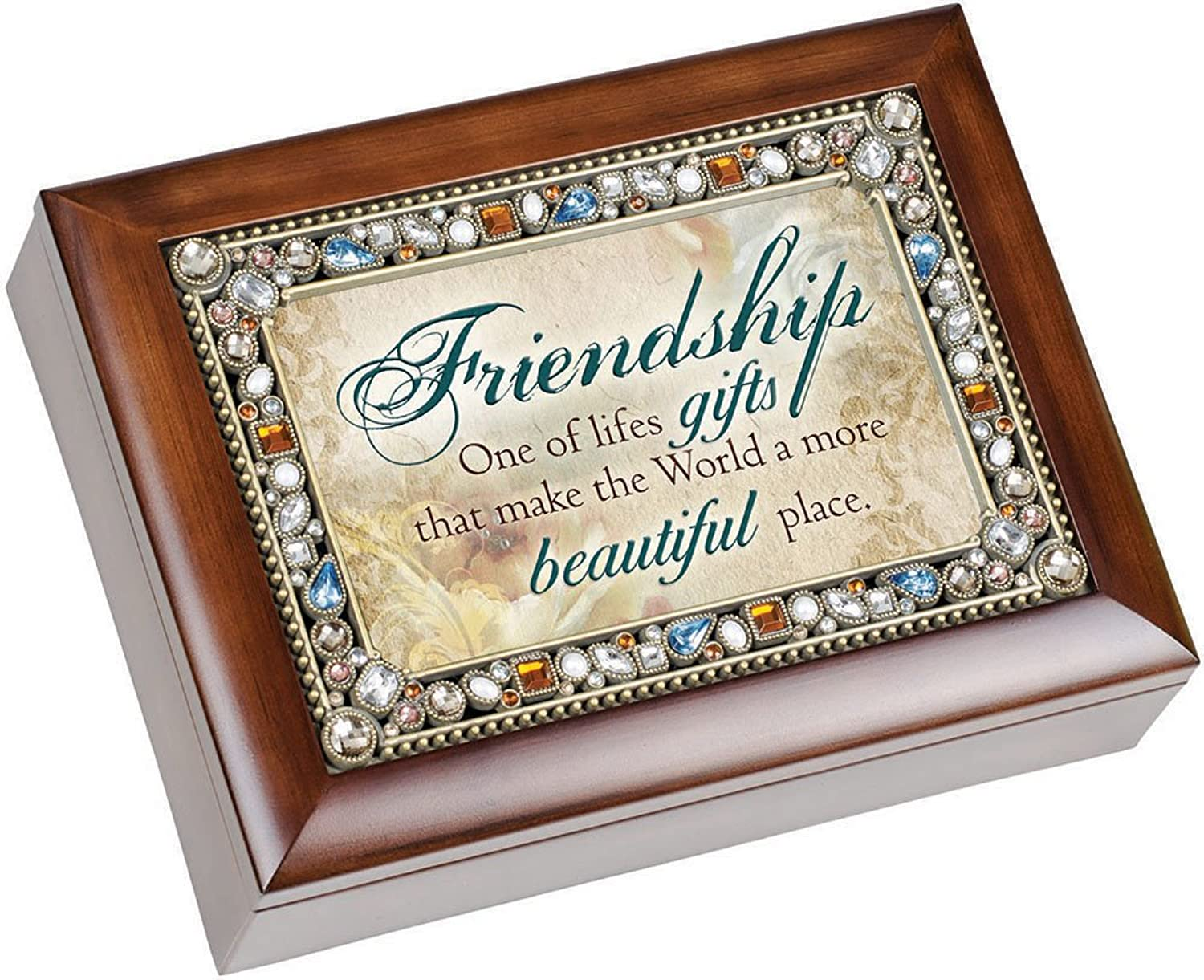Friendship Life's Gifts Jewel Musical Music Jewelry scatola with Dark Wood Finish Plays That's What Friends Are For by Cottage Garden