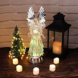 DRomance Color Changing LED Angel Light Up Angel Lamp, Color Changing Praying Angel Battery Operated Angel Mood Light, Color Changing Glittering Angel Snow Globe for Christmas Decor
