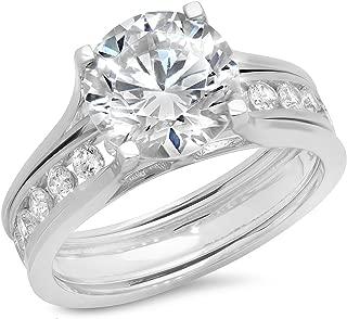 2.89 CT Round Cut Simulated Diamond CZ Halo Bridal Engagement Wedding Ring Sliding Band Set 14k White Gold