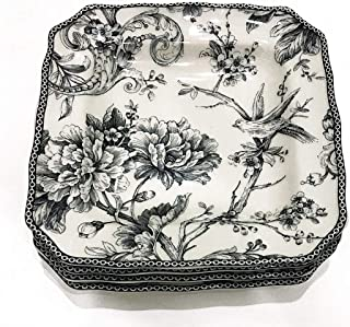 222 Fifth Adelaide Gray Toile Pattern Square Salad/Luncheon Plates | Set of 4 | 8.25