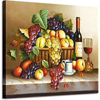 Amazon Com Vintage Wall Art Wine Pictures Red Wine Fruit Artwork Oil Painting On Canvas For Dining Room Posters Prints