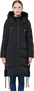 Orolay Women's Thickened Contrast Color Drawstring Down Jacket Hooded Coat