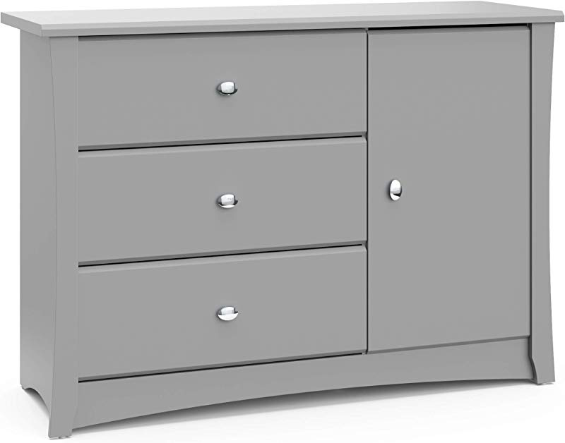 Storkcraft Crescent 3 Drawer Combo Dresser Pebble Gray