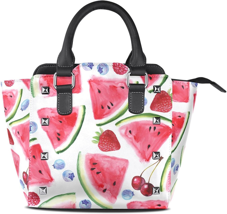 My Little Nest Women's Top Handle Satchel Handbag Summer Watermelon Slices Ladies PU Leather Shoulder Bag Crossbody Bag