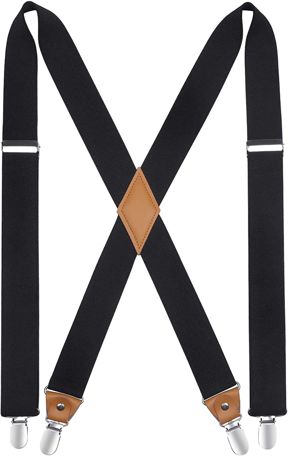 Mens Suspenders Strong Clips Heavy Duty X- Back 1.4 Inch Adjustable Suspenders Elastic Braces for Work Wedding Party