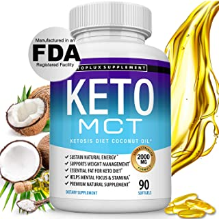 Keto MCT Oil Capsules Ketosis Diet - 2000mg Natural Pure Coconut Oil Extract Pills to Support Ketogenic Diet, Source of En...
