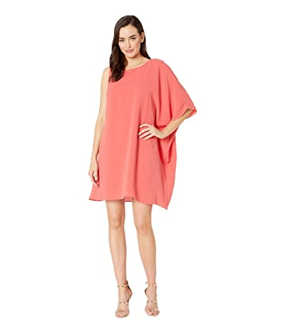 Adrianna Papell Gauzy Crepe One Shoulder Dress (Cruise Coral) Women