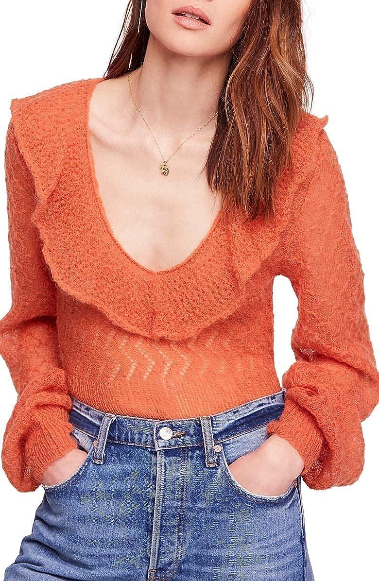 Free People Macaroon Women's Semi-Sheer Pointelle Knit Ruffled Pullover Sweater