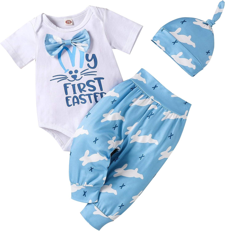 3Pcs/Set Infant Baby Boy Girl My 1st Easter Bodysuit Romper+Bunny Pants+Hat Easter Outfit
