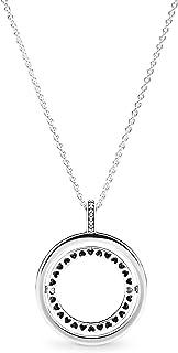 Pandora Women Cubic Zirconia Necklaces Spinning Hearts