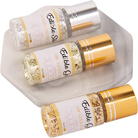 KINNO Edible Gold Flakes - 3 Bottles of Metallic Gold Flakes for Drinks, Cake Decorations, 0.3 Grams in Total