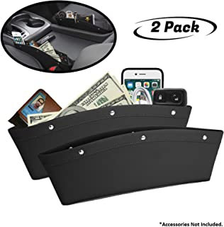 lebogner Black Gap Filler Premium PU Full Leather Console Pocket Organizer, Interior Accessories, Car Seat Side Drop Caddy...