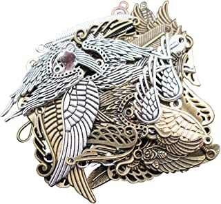 LAOZHOU 100 Gram Assorted Antique Feather and Wing Charms Pendant Bracelet Necklace Earrings Crafting DIY Jewelry Making Accessory