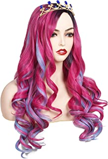 ColorGround Long Wavy Pink and Light Blue Mixed Cosplay Wig with Crown (Adult Size)