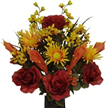 Burgundy Rose and Orange Calla Lily Mix Artificial Bouquet, featuring the Stay-In-The-Vase Design(c) Flower Holder (MD1092)
