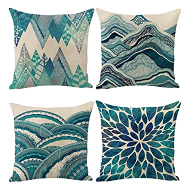 Jasfura Set of 4 Teal Throw Pillow Covers 18x18 Inch Summer Ocean Bohemia Decorative Couch Pillow Cases Sea Cotton Linen Case Tuquoise Coastal Square Cushion Covers for Sofa, Bed and Car (Green)