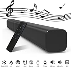 32-Inch TV Soundbar with Built-in Subwoofers, 8 Drivers Bluetooth 5.0 Speaker Wired & Wireless 3D Surround Stereo Sound Bar, Optical/Aux/RCA/TF/Coax Connection, Wall Mountable, Remote Control, 50Watts