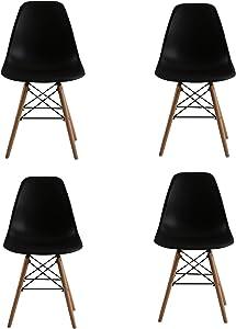 KunstDesign Set di 4 sedie Stile Eames, Design ergonomico, Gambe in Legno di faggio Naturale, Look Moderno Mid-Century (Eames_Nero)