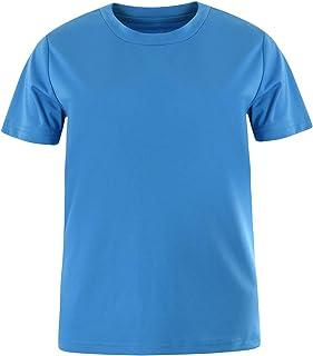 Eono Essentials - Camiseta de niño con cuello redondo para hacer deporte (lisa)