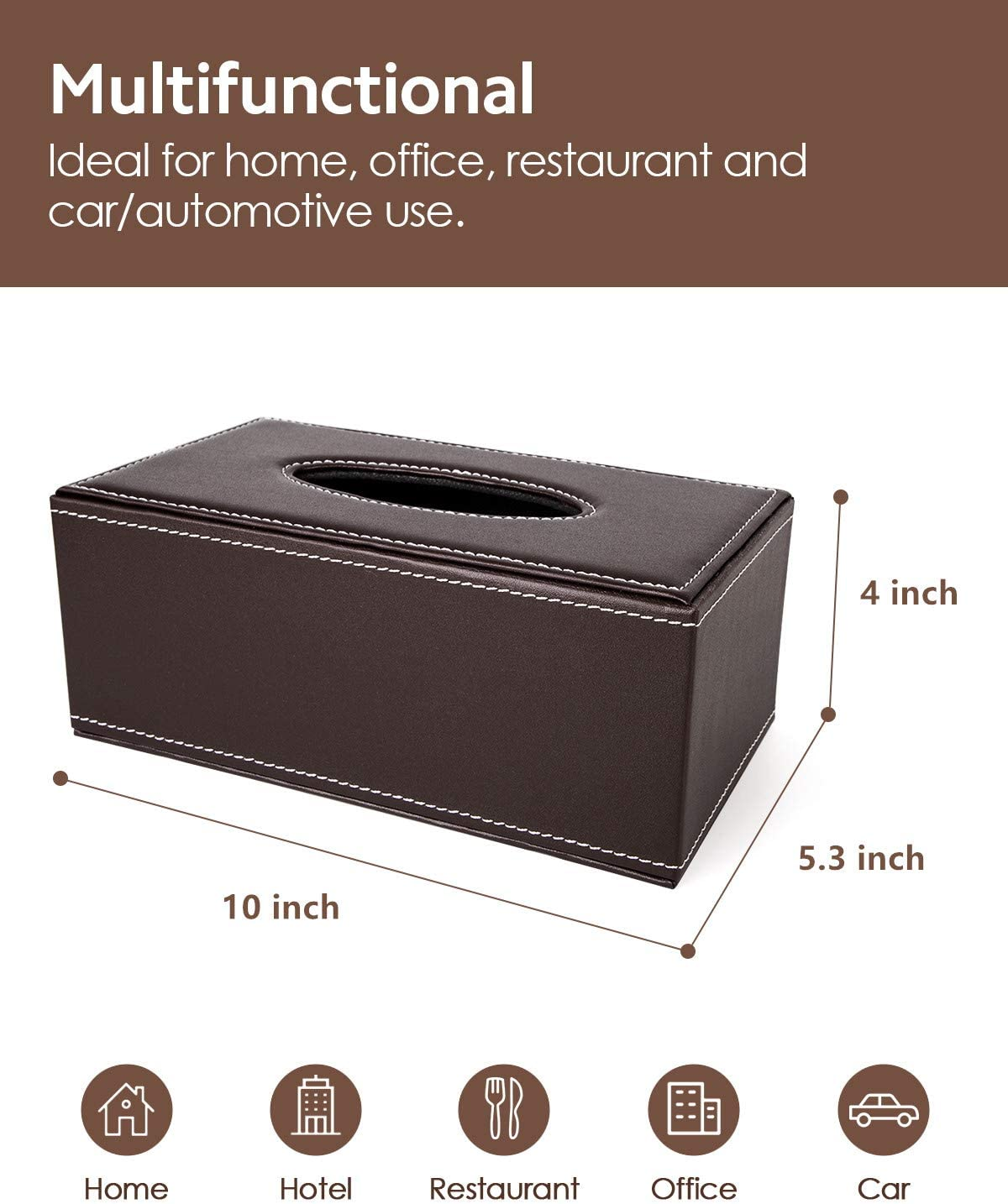 Waterproof Napkin Holder Tissue Box Cover Case for Home Office Car Automotive Decoration Brown BREIS Rectangular PU Leather Facial Tissue Box