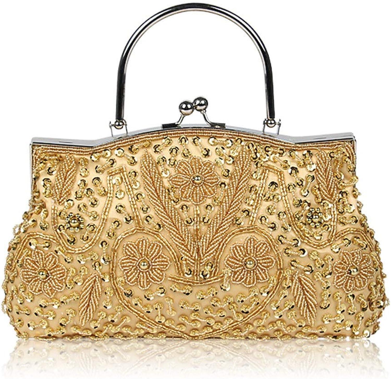 Sturdy New Dress Dinner Handbag Cheongsam Vintage Beaded Handbag Handbag Shoulder Cross-Body Handbag Large Capacity (color   Ds102)