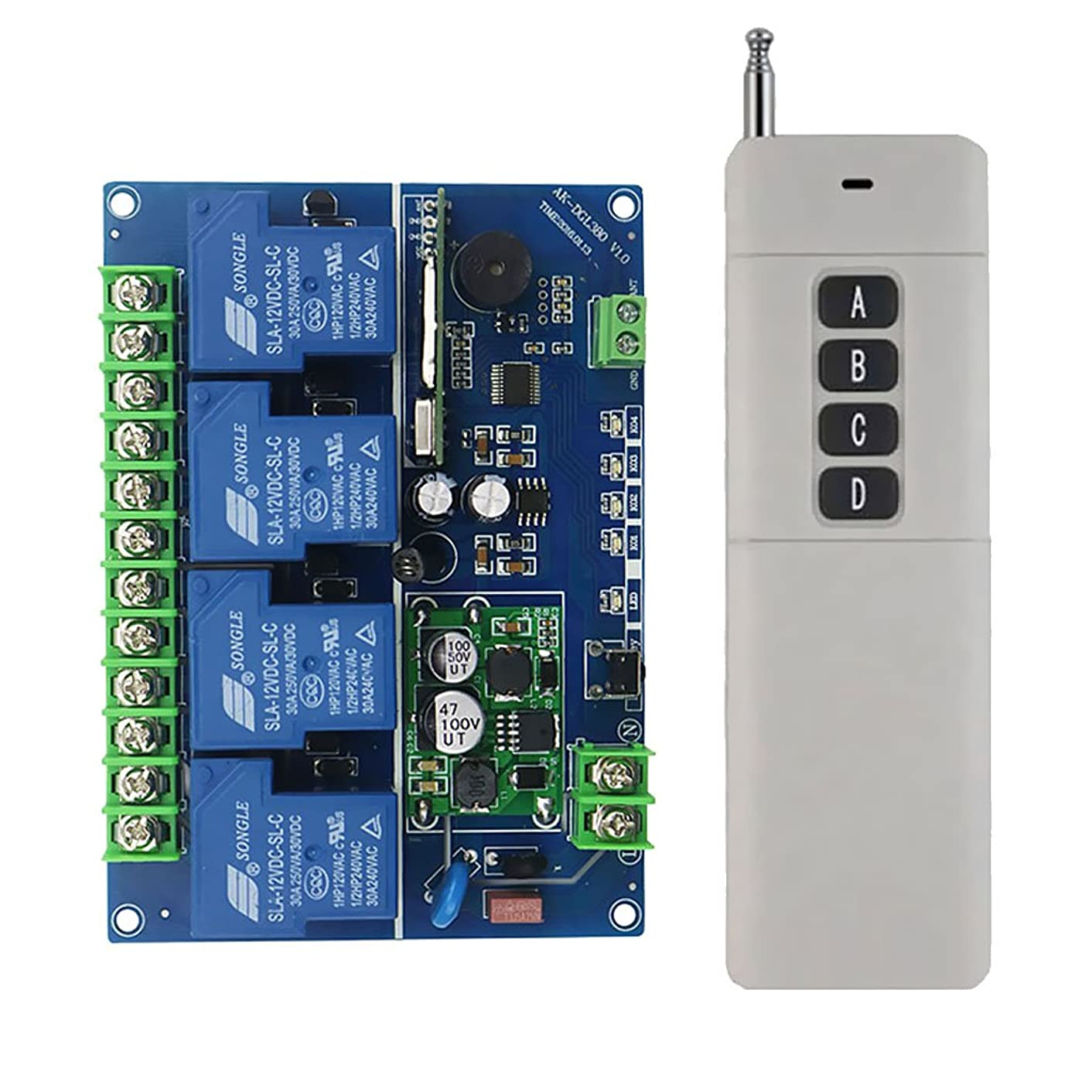 MonkeyJack DC12-48V 4CH Wireless Remote Control Switch Receiver Module+ Remote Controller Set 3000m