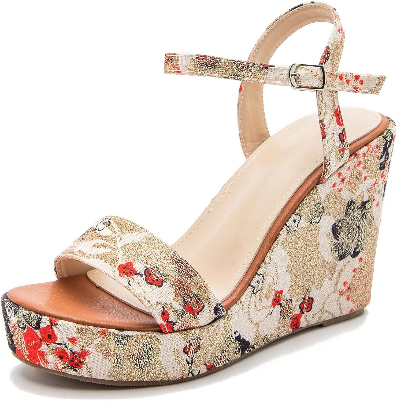 CYNLLIO Summer Platform Sandals Floral Strap Print Heeled Cross Seattle Mall New sales