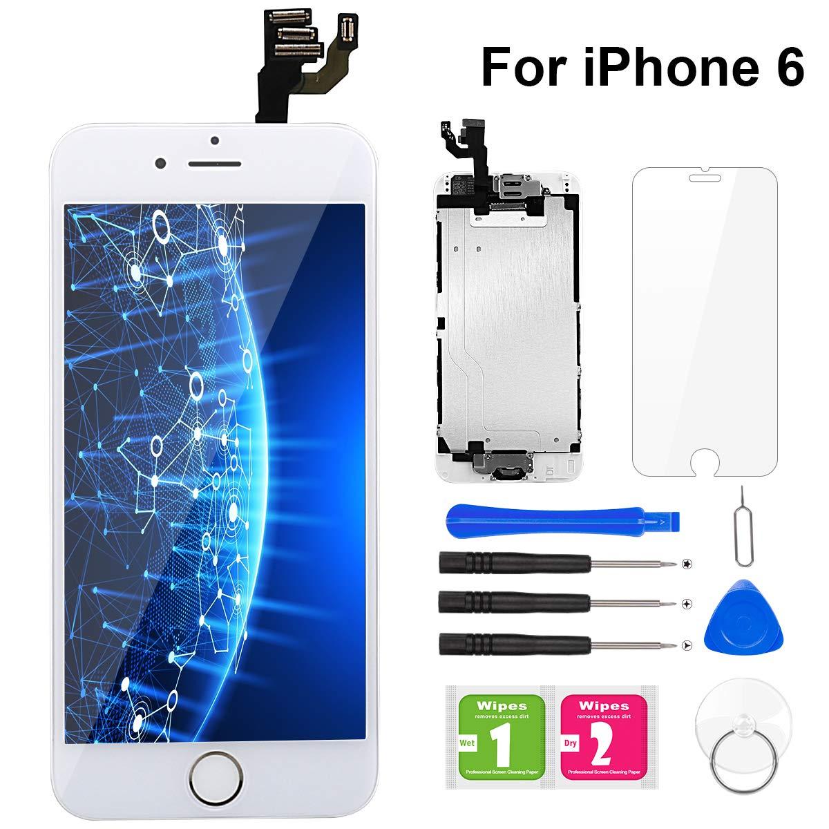 BuTure Para Pantalla iPhone 6 Blanco Pantalla Táctil LCD con Cámara frontal,Sensor de proximidad,altavoz, ensamblaje de marco digitalizador y kit de reparación: Amazon.es: Electrónica