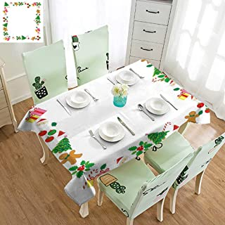 SEMZUXCVO Oil-Proof Long Tablecloth Kids Christmas Colorful Border with Different Clip Arts Holiday Festivity Santa Trees Balls and Durable W60 xL102 Multicolor