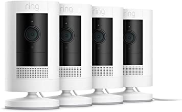 All-new Ring Stick Up Cam Plug-In HD security camera with two-way talk, Works with Alexa – 4-Pack