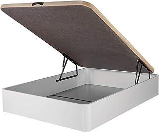 comprar comparacion DHOME Canape Abatible Tapizado 3D 4 válvulas Maxima Calidad Esquinas canapé Madera (90x190 Blanco, 22mm)