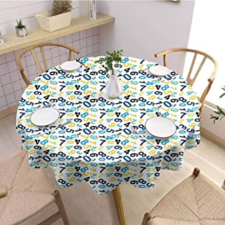 Waynekeysl Round Tablecloth,Home Round Tablecloth,Round Tablecloth for Kids/Childrens,Numbers,Indoor Outdoor-(66