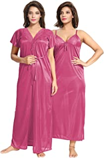Be You Multicolor Solid Women Nighty with Robe / 2 pieces Nighty
