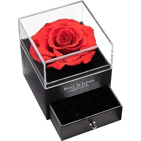 MINCHEDA Confezione Regalo di Gioielli in Rosa Stabilizzata, Rosa Eterna Vera per Anniversario/Compleanno/San Valentine per Donne, Mamma, Fidanzata, Moglie