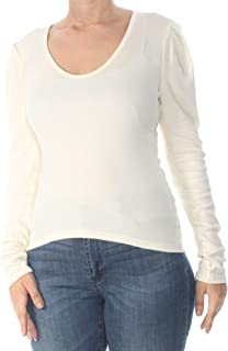 Womens Small Puff Sleeve Ribbed Top White Ivory S