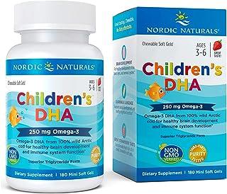 Nordic Naturals Children's DHA, Strawberry - 180 Mini Chewable Soft Gels - 250 mg Omega-3 with EPA & DHA - Brain Developme...