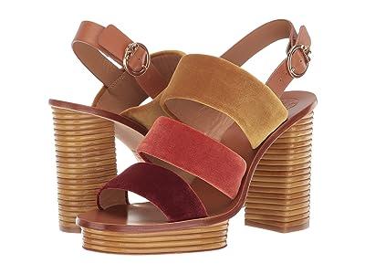 Tory Burch 105 mm Patos Sandal (Bright Pueblo/Bright Lava/Aged Malbec) Women