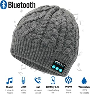 Upgraded Wireless Bluetooth Beanie Hat with Headphones V5.0, Unique Christmas Tech Gifts for Teen Boys/Girls/Boyfriend/Him/Husband/Men/Dad/Women/ Stocking Stuffers/Built-in HD Stereo Speakers & Mic