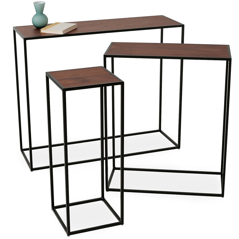 商品クラフト間違いなくLOWYA (ロウヤ) テーブル サイドテーブル コンソールテーブル スチールフレーム ディスプレイテーブル 展示 おしゃれ 3点セット 長方形 ウォルナット/ブラック