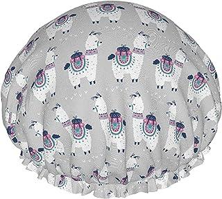 Kreskówka lama alpaka wodoodporna czapka prysznicowa z elastycznym obszyciem odwracalna konstrukcja do prysznica czapka do...