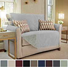 GORILLA GRIP Original Slip Resistant Loveseat Protector for Seat Width up to 54 Inch, Patent Pending Suede-Like Furniture Slipcover, 2 Inch Straps, Couch Slip Cover Throw for Dogs, Love Seat, Charcoal