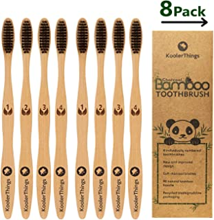 Biodegradable Natural Charcoal Bamboo 8 Toothbrushes (Two Packs of 4 | BPA Free Soft Bristles | Biodegradable, Compostable, Eco Friendly, Natural, Organic, Vegan, Kooler-Things