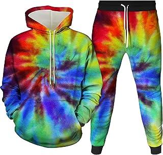 HoneyStore Unisex Tie Dye Tracksuit LGBT Hoodies Pants Rainbow Printed Sweatsuit