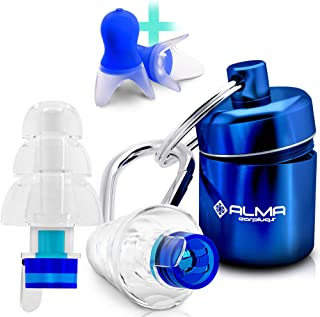 ALMA Ear Plugs Noise Reduction - Reusable Silicone Sound Protection - Best Noise Cancelling for Professional Musician Shooting Concert Swimming Festival Motorcycle Travel Construction Work