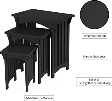 Home Lavish Nesting Set of 3, Traditional with Mission Style Legs for Living Room Coffee Tables or Nightstands Accent Furnitu