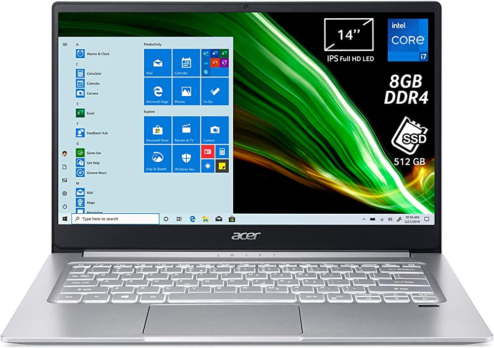 Acer, pc portatile, notebook intel core i7-1165g7, ram 8 gb ddr4, 512 gb, pcie nvme ssd SF314-59-79ZH