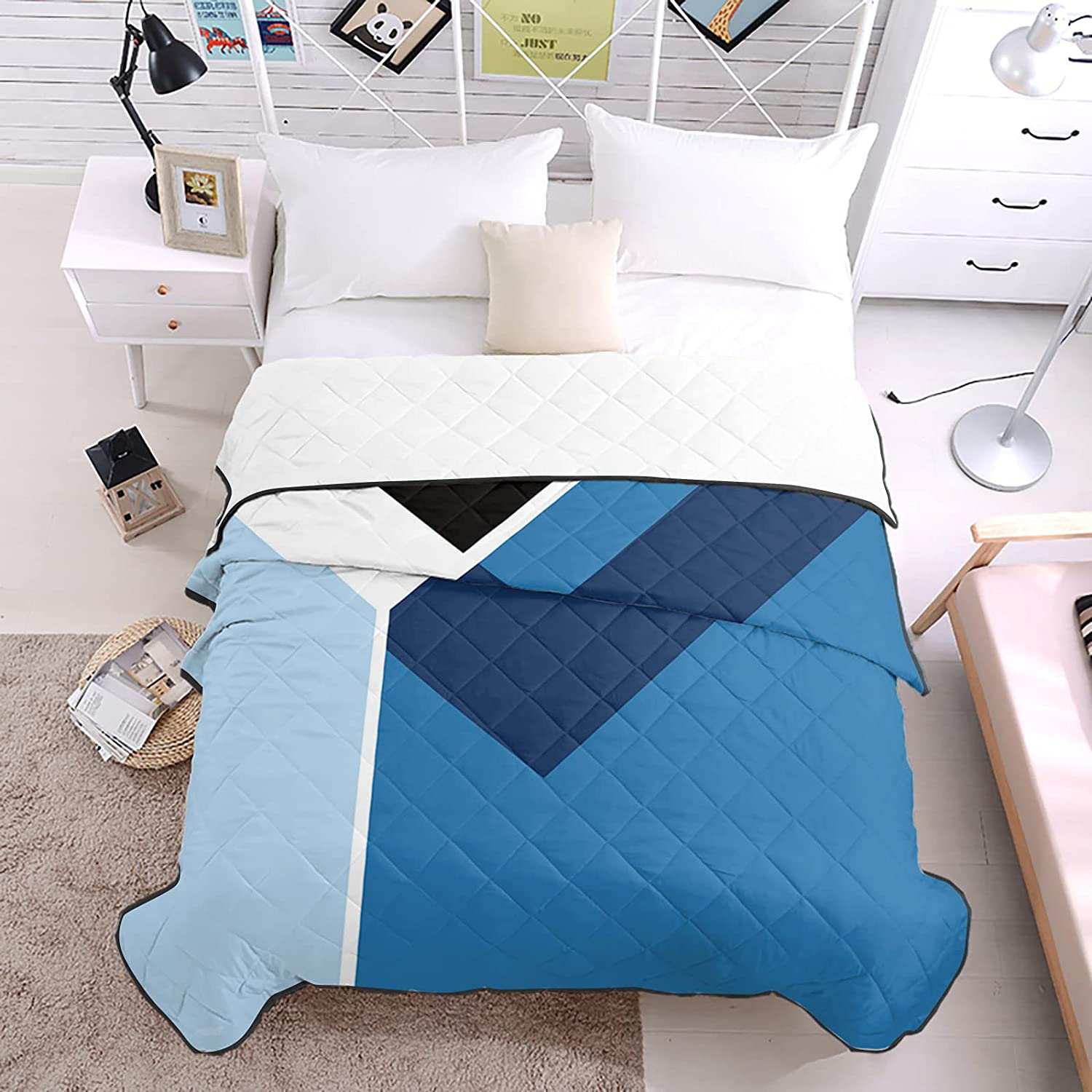 DecorLovee Fort Worth Mall Bedding Duvets Blue Color Stripes Geometric Block Al All items in the store