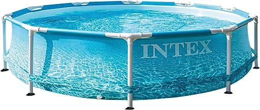 Intex 55240 - Piscina desmontable redonda, Metal Frame, medidas diámetro305x76 cm, 4.485 litros, diseño fotorrealista del fondo marino