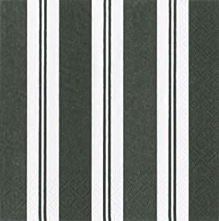 Entertaining with Caspari Awning Stripe Black and White Paper Luncheon Napkins, Pack of 20